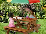 Childrens Rectangular Picnic Table with Parasol